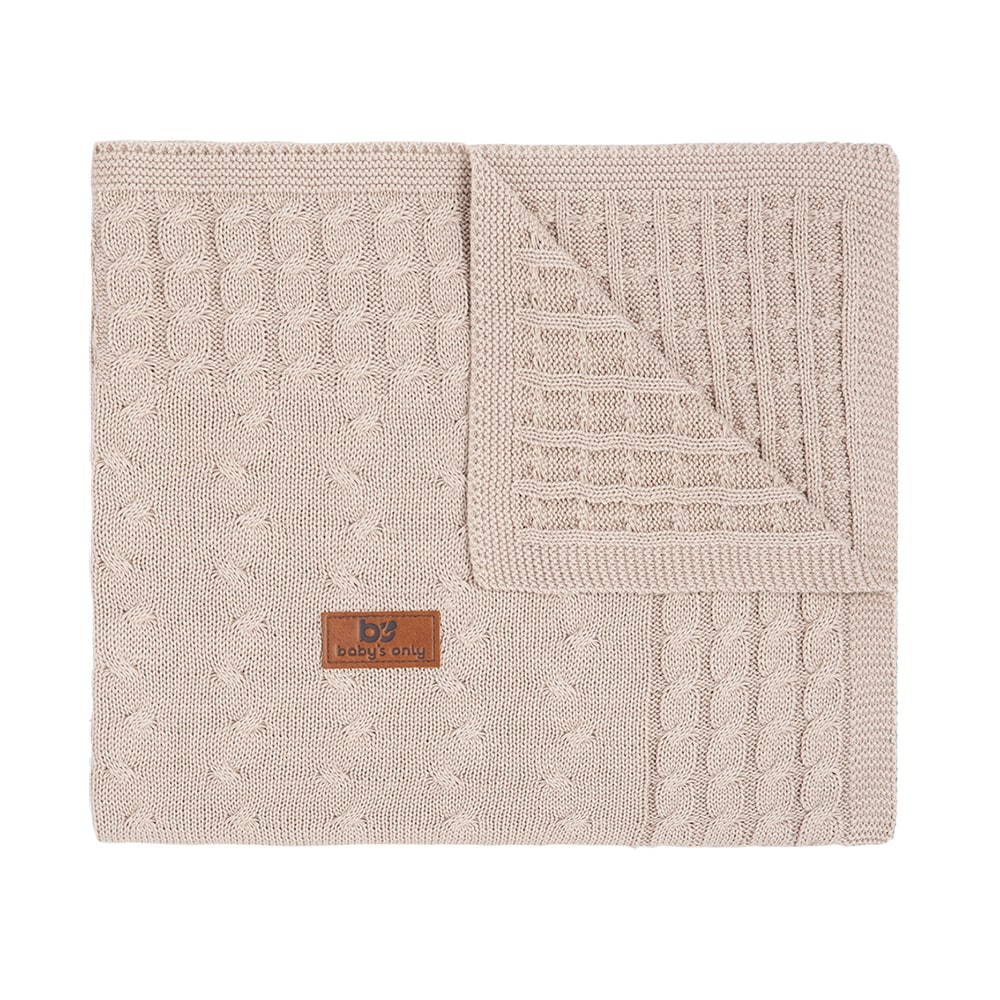 baby crib blanket cable beige