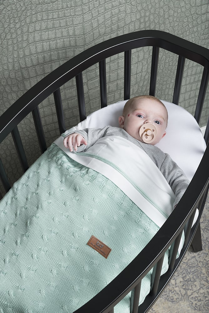 baby crib blanket cable mint