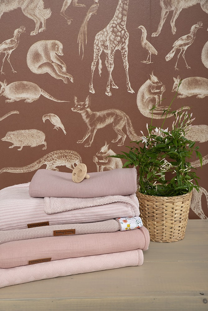 baby crib blanket chenille reef misty pink