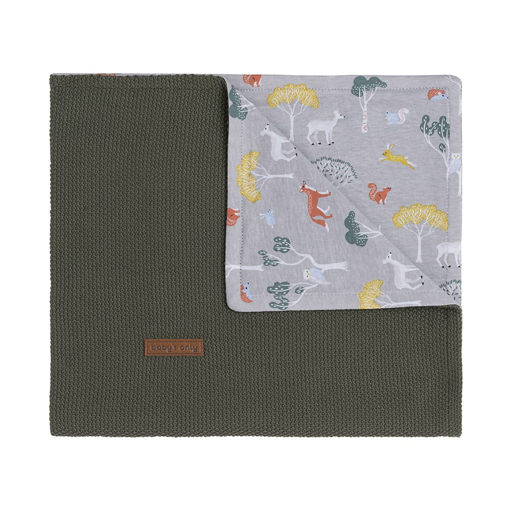 baby crib blanket forest khaki