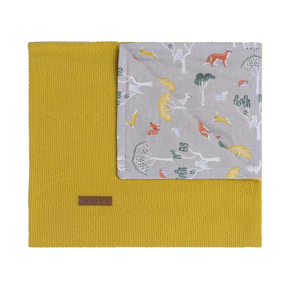 baby crib blanket forest mustard