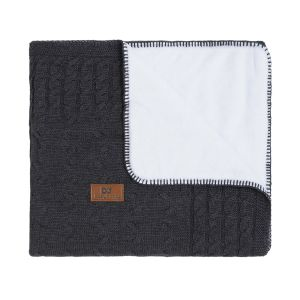 Baby crib blanket teddy Cable anthracite