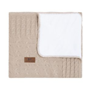 Baby crib blanket teddy Cable beige