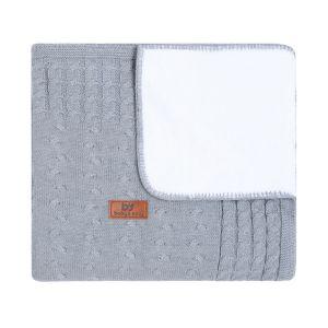 Baby crib blanket teddy Cable grey