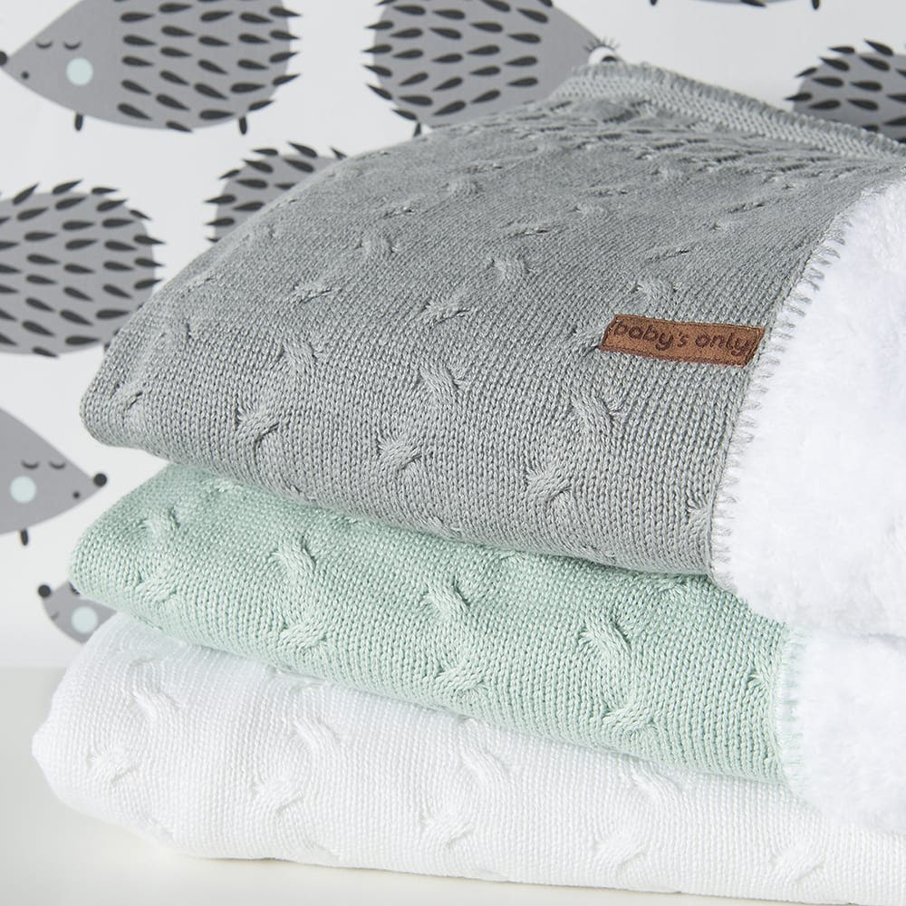 baby crib blanket teddy cable mint