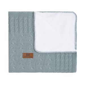 Baby crib blanket teddy Cable stonegreen