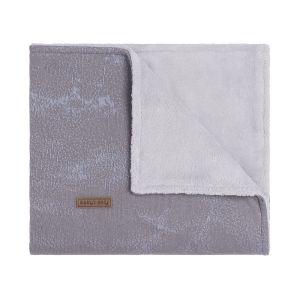Baby crib blanket teddy Marble cool grey/lilac