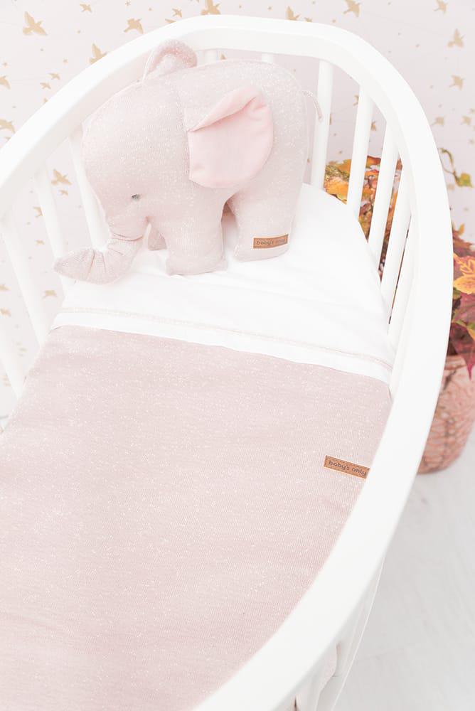 baby crib sheet knitted ribbon goldivory meleewhite