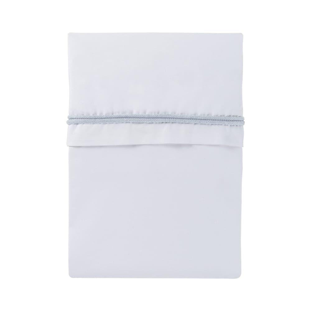 baby crib sheet knitted ribbon powder bluewhite