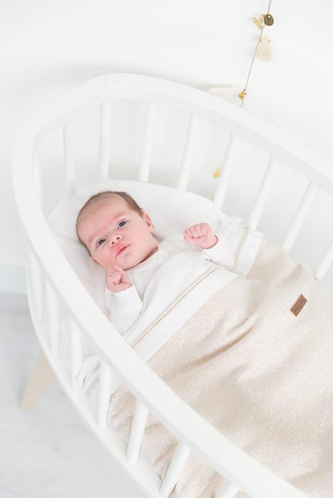baby crib sheet knitted ribbon silvergrey meleewhite