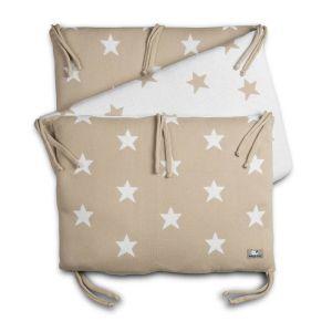 Bed bumper Star beige/white