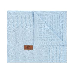 Cot blanket Cable baby blue