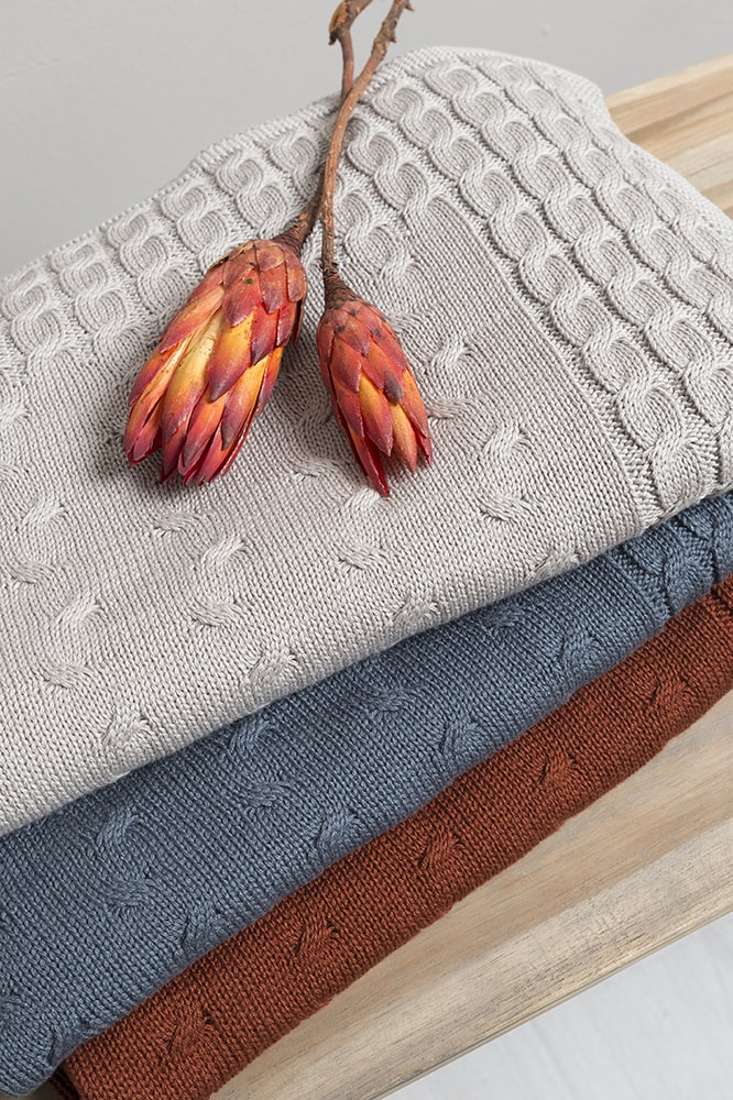 cot blanket cable stonegreen