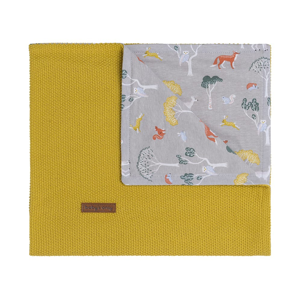 cot blanket forest mustard