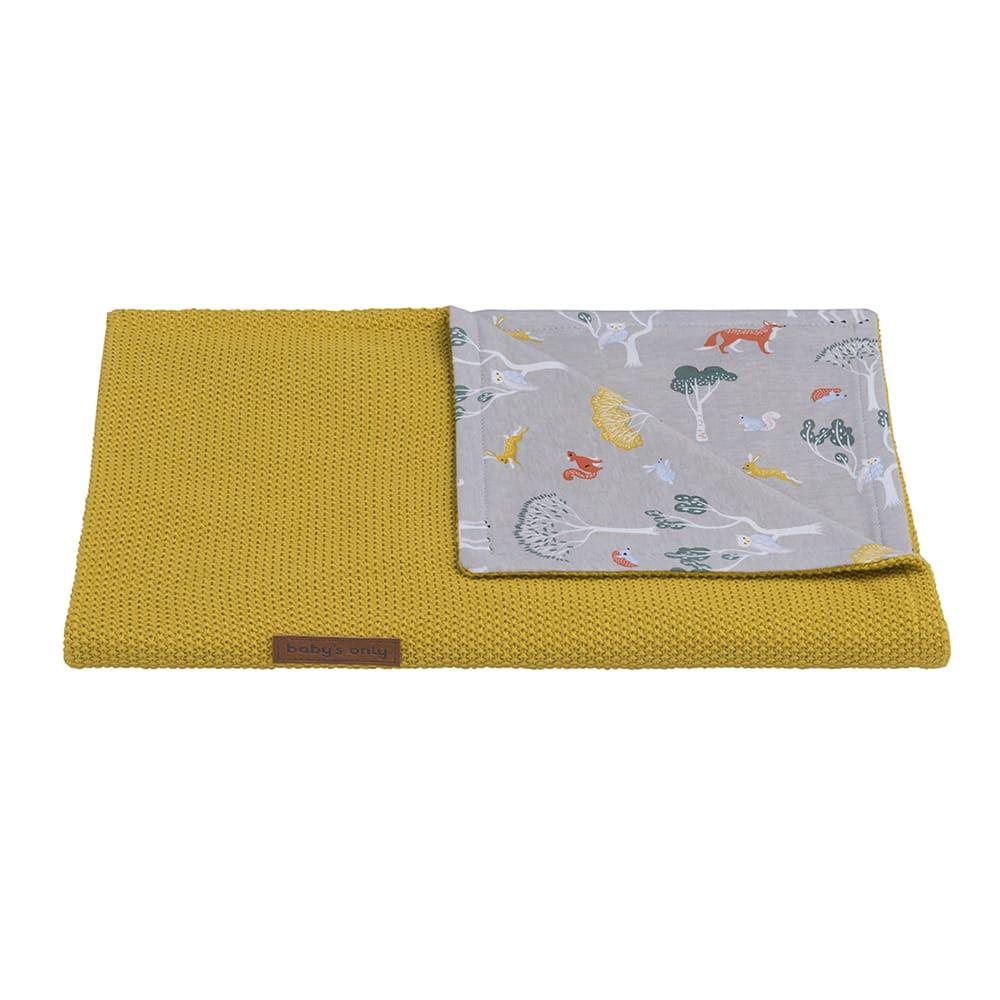 cot blanket forest mustard