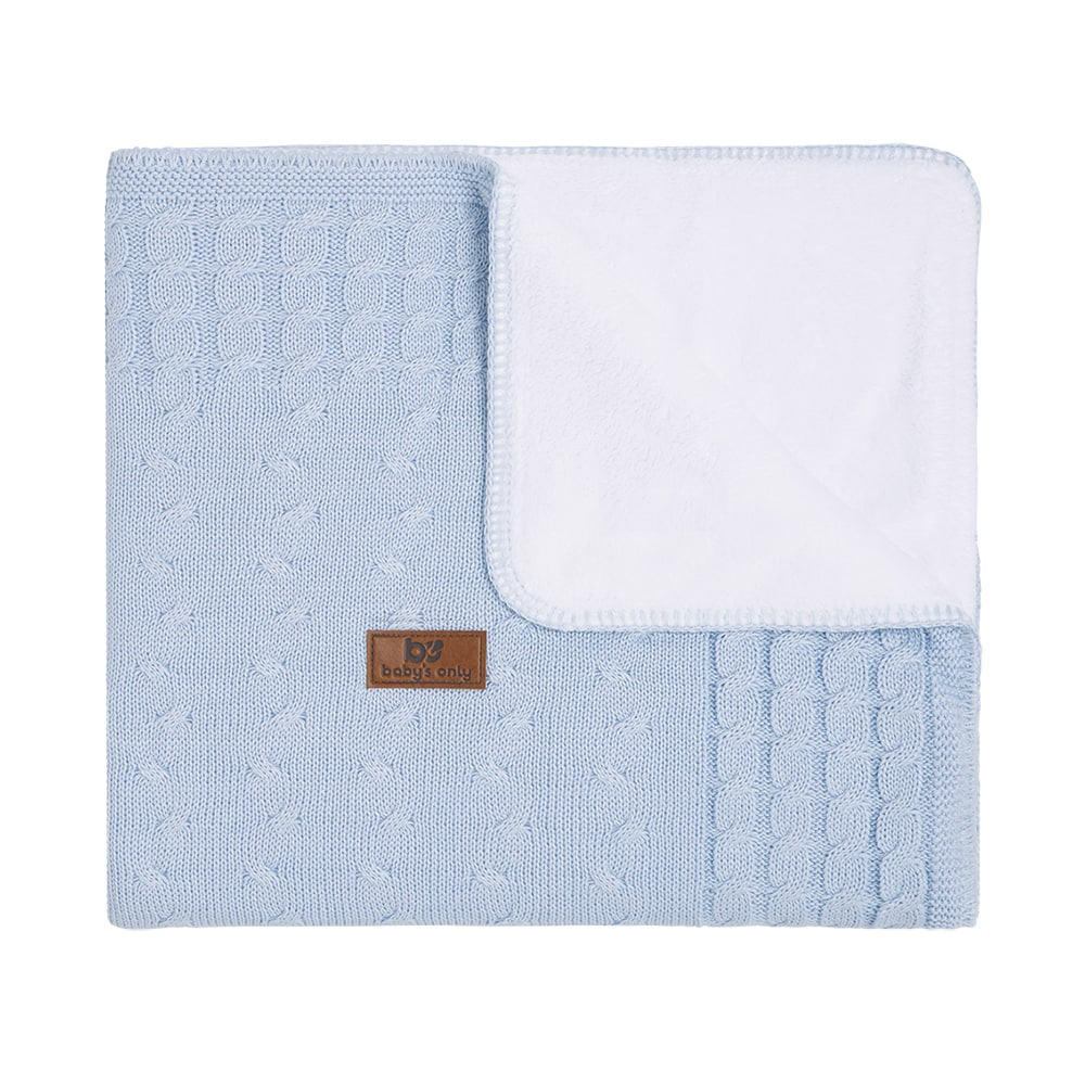 cot blanket teddy cable baby blue