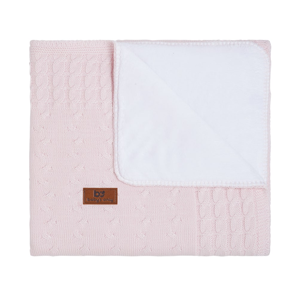 cot blanket teddy cable classic pink