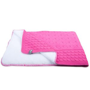 Cot blanket teddy Cable fuchsia