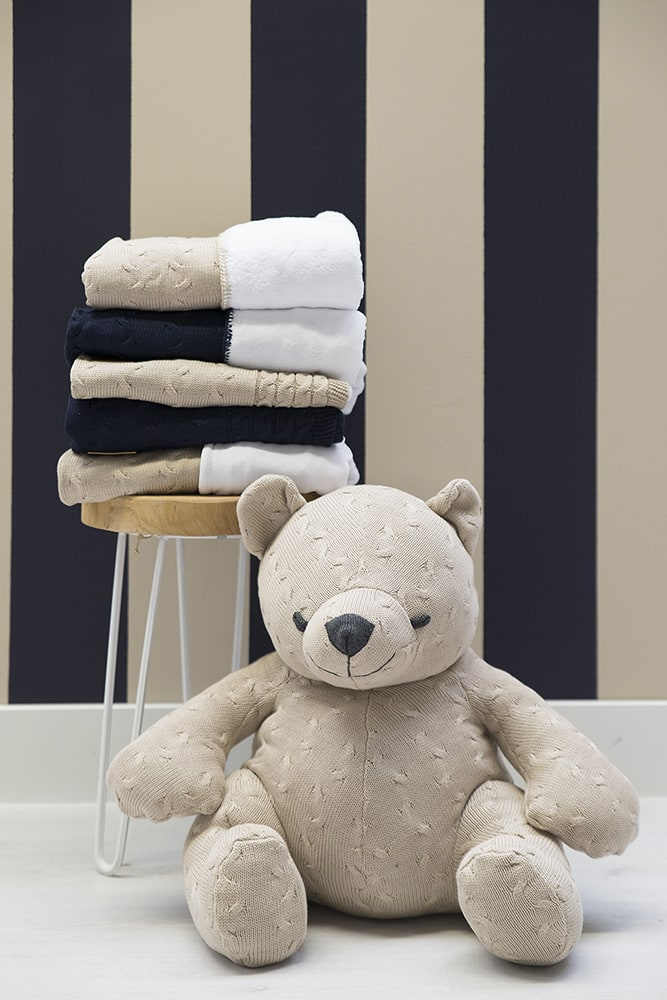 cot blanket teddy cable grey