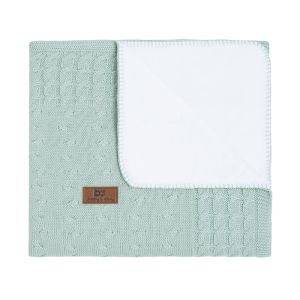 Cot blanket teddy Cable mint