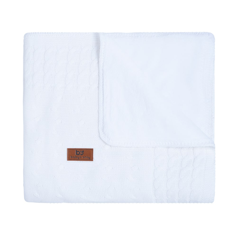 cot blanket teddy cable white