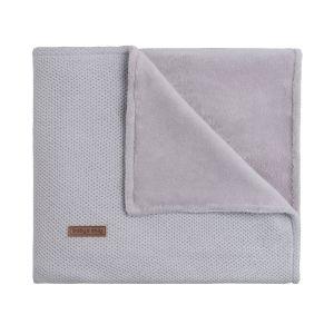 Cot blanket teddy Classic silver-grey