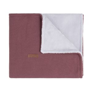 Cot blanket teddy Classic stone red