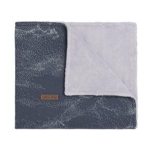 Cot blanket teddy Marble granit/grey