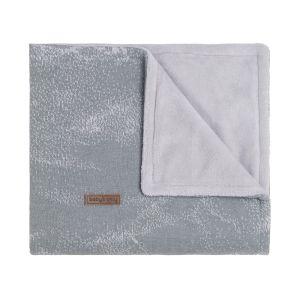 Cot blanket teddy Marble grey/silver-grey