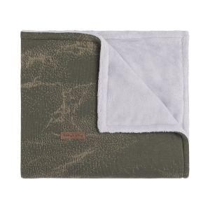 Cot blanket teddy Marble khaki/olive
