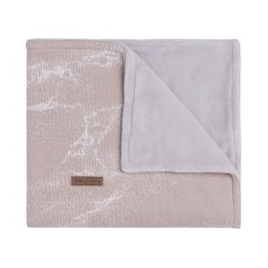 Cot blanket teddy Marble old pink/classic pink