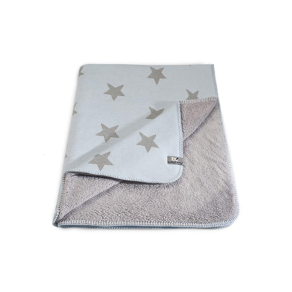 cot blanket teddy star baby bluegrey