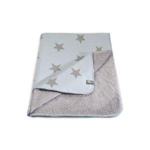Cot blanket teddy Star baby blue/grey