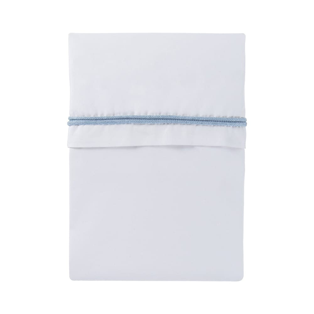cot sheet knitted ribbon baby bluewhite