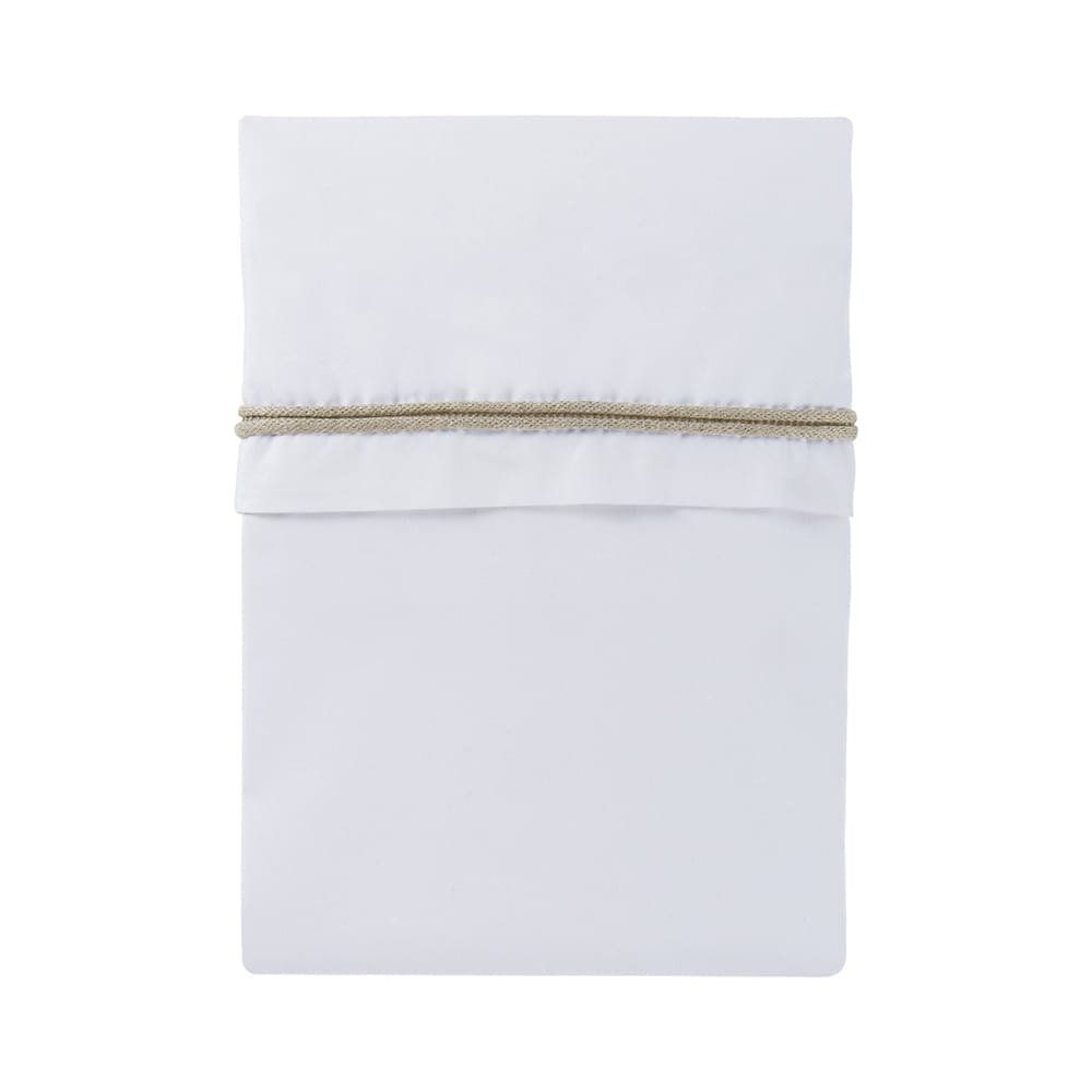 cot sheet knitted ribbon beigewhite