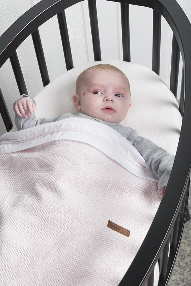 cot sheet knitted ribbon classic pinkwhite
