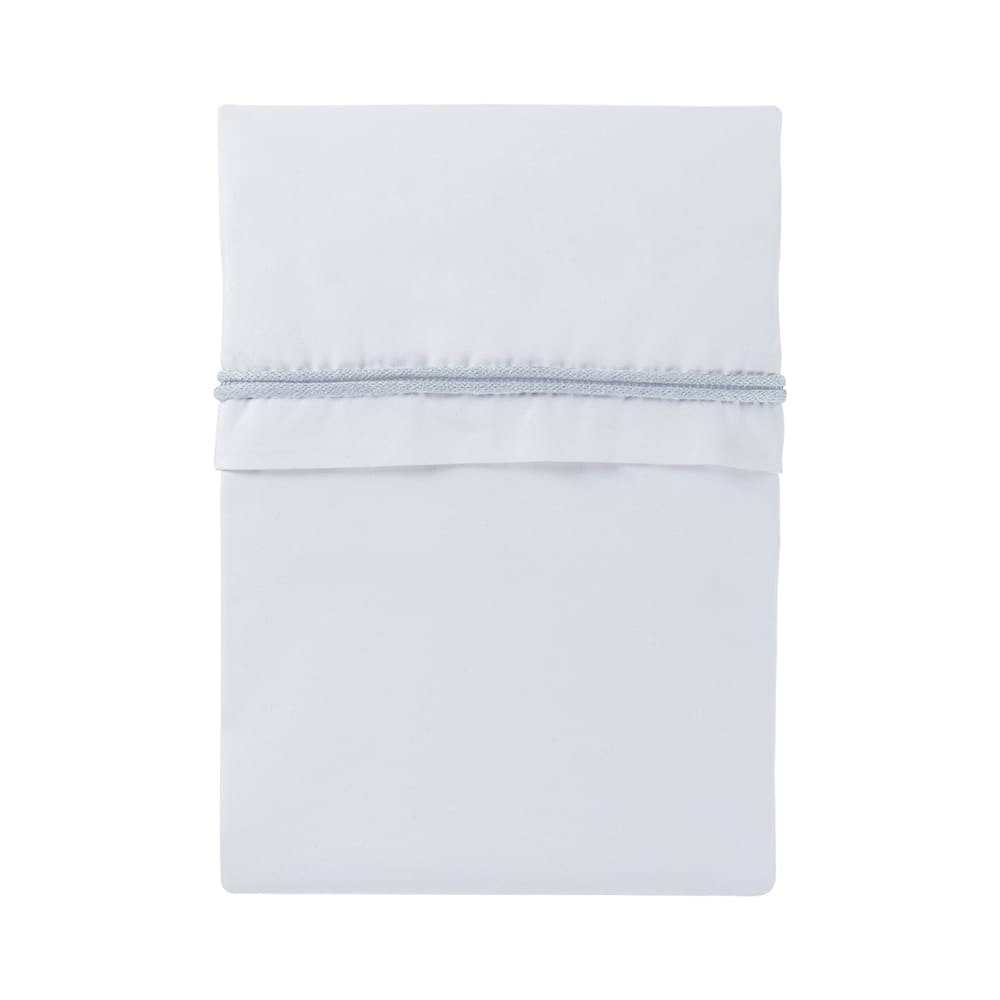 cot sheet knitted ribbon powder bluewhite