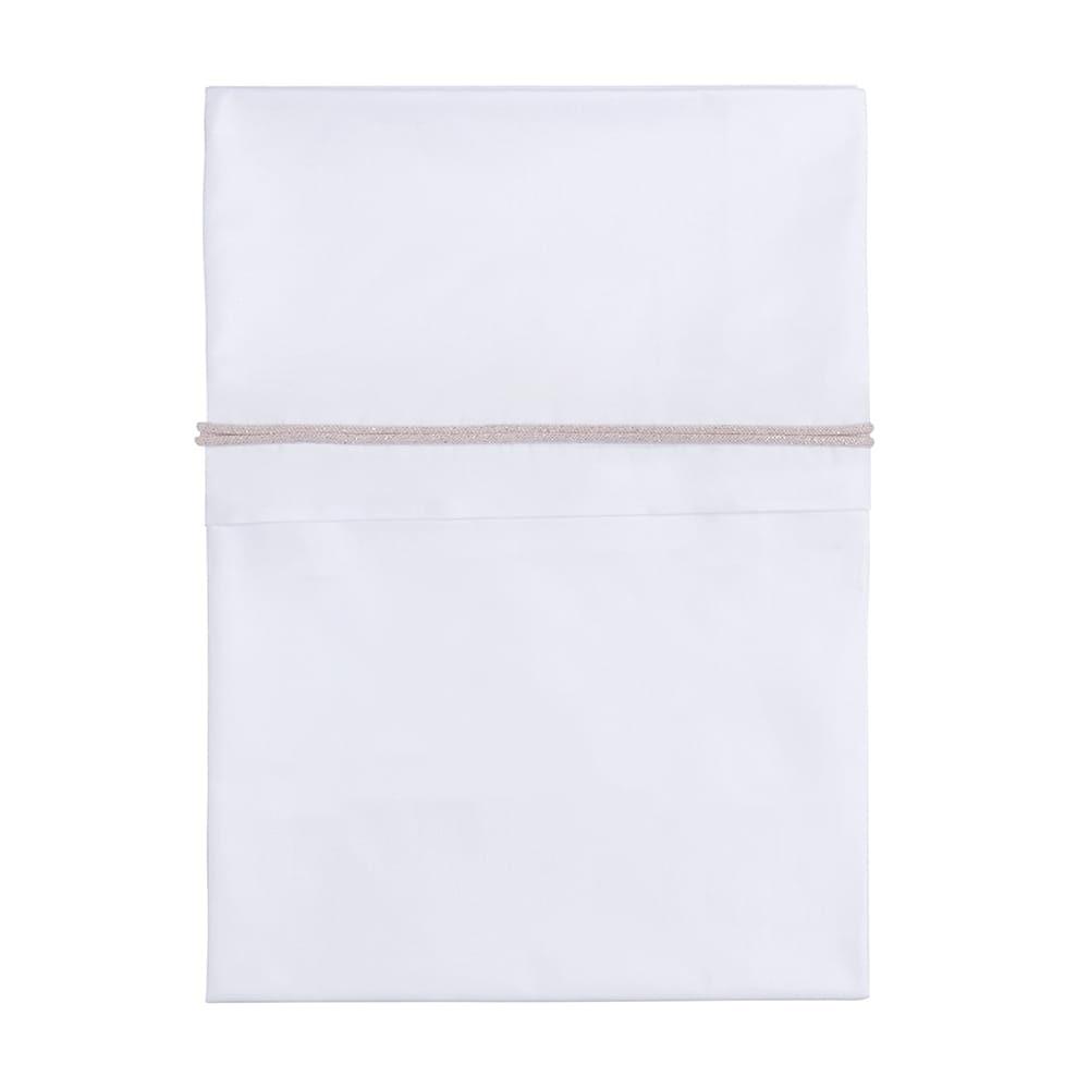 cot sheet knitted ribbon silverpink meleewhite