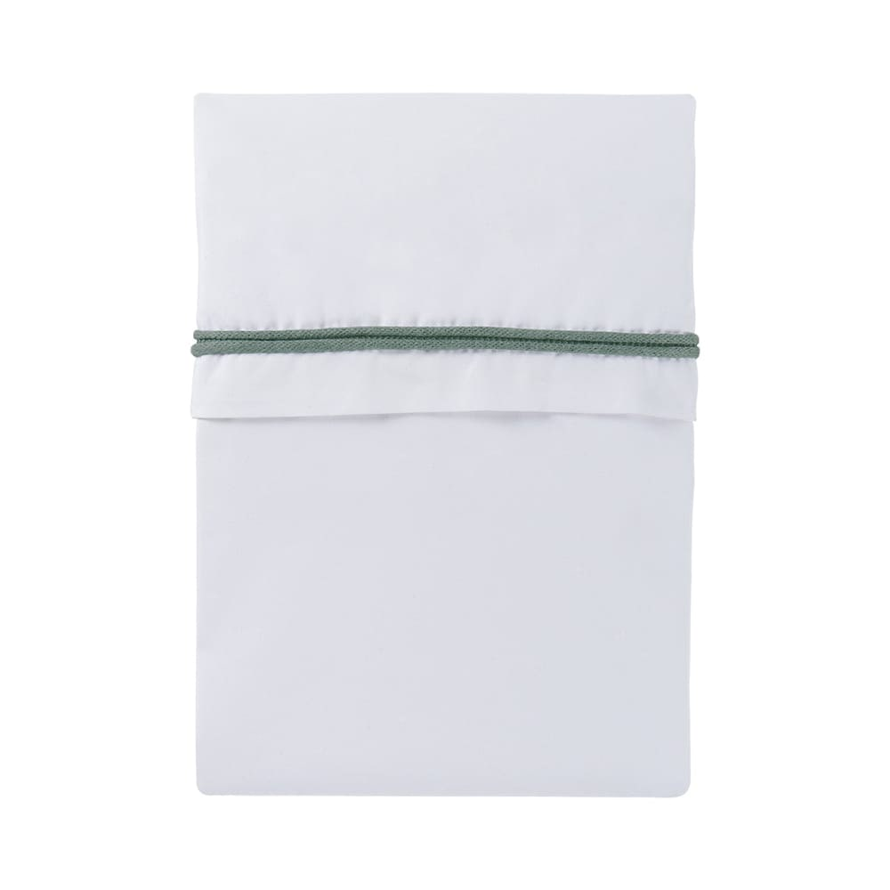 cot sheet knitted ribbon stonegreenwhite