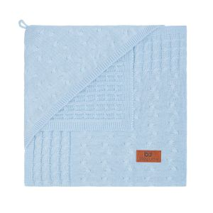 Hooded baby blanket Cable baby blue