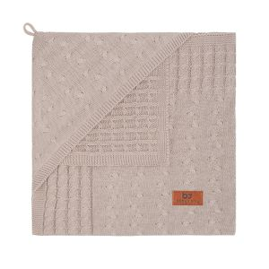 Hooded baby blanket Cable beige