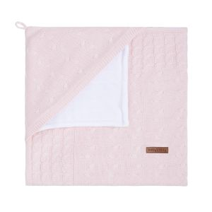 Hooded baby blanket Cable classic pink