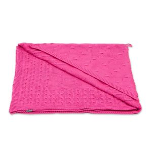 Hooded baby blanket Cable fuchsia