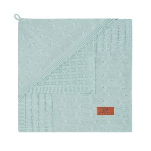 Hooded baby blanket Cable mint
