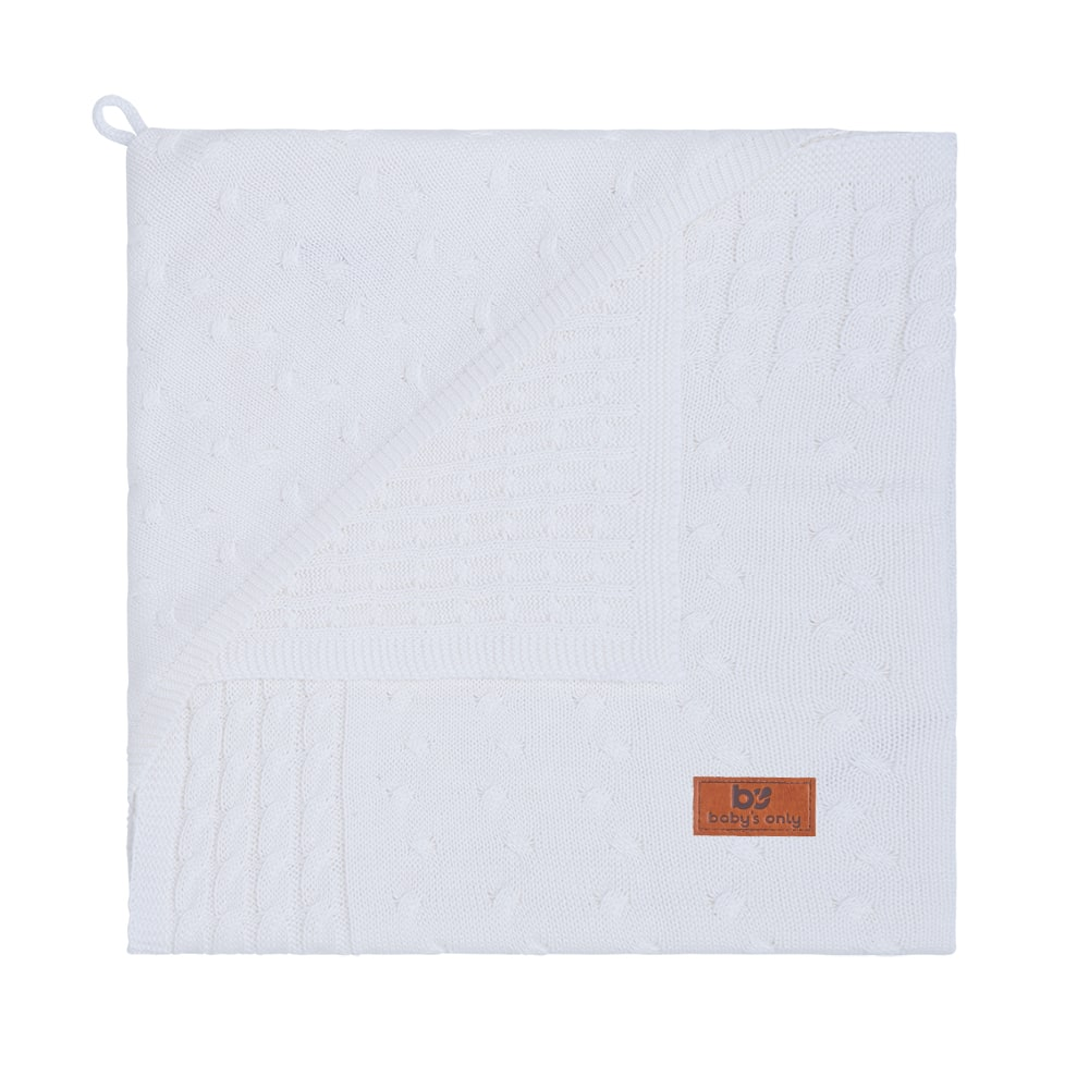 hooded baby blanket cable white