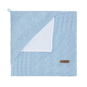 Hooded baby blanket chenille Cable baby blue