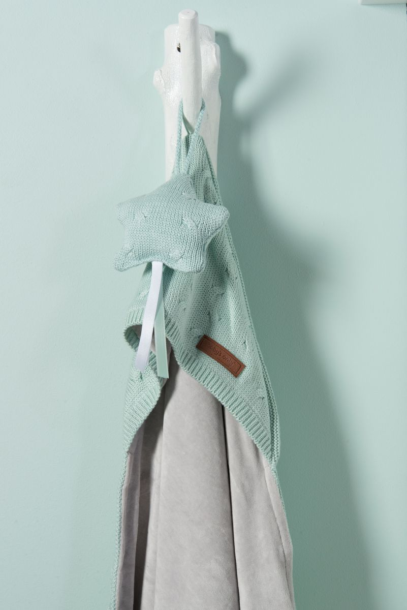 hooded baby blanket chenille cable granit