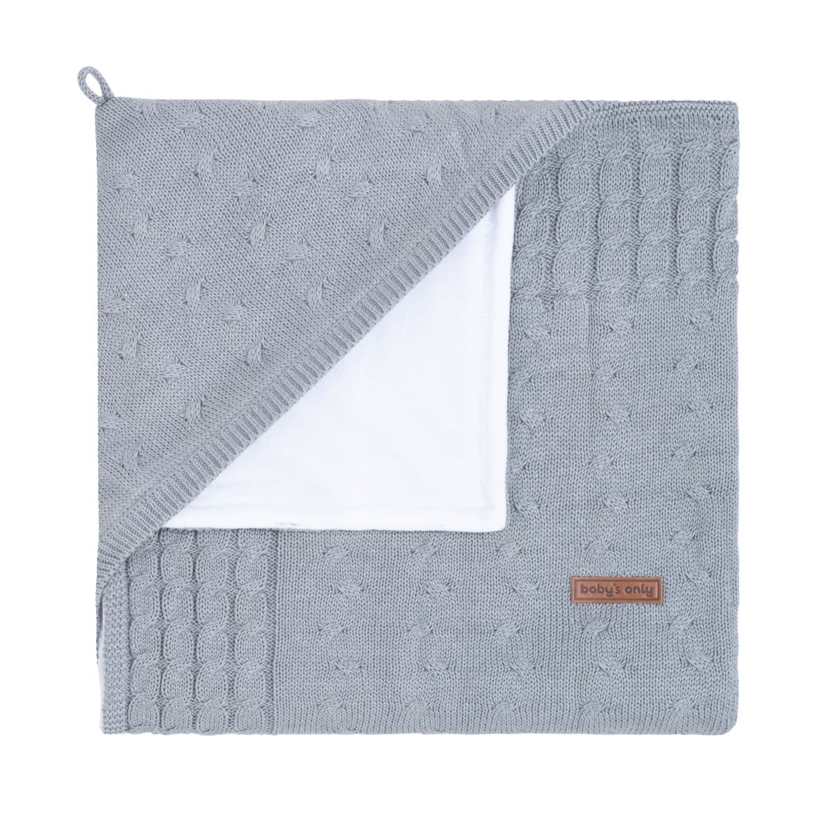 hooded baby blanket chenille cable grey