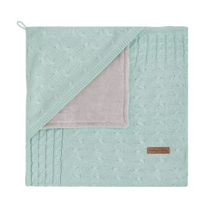 Hooded baby blanket chenille Cable mint