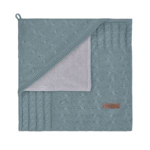 Hooded baby blanket chenille Cable stonegreen